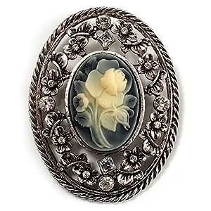 Broche Vintage Camée Cristal Fleur (Finition Argent Vieilli)