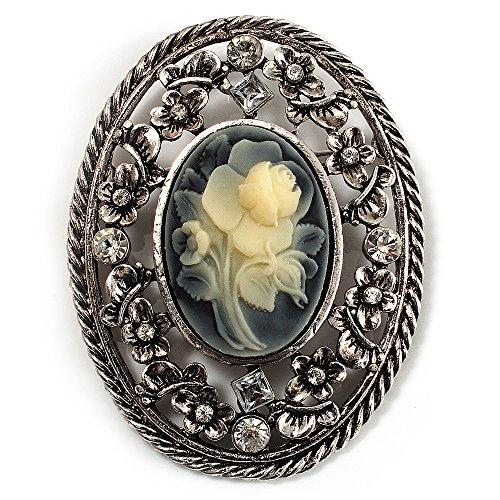 Vintage Floral Crystal Cameo Brooch (Antique Silver Finish)