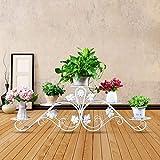 Européenne en fer forgé fleur stand blanc balcon multicouche au sol en gros moderne salon (taille : 18 * 32 * 100cm)...