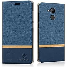 Honor 6C Pro Custodia, Cover Huawei Honor 6C Pro, RIFFUE Copertura Protettiva Sottile del Modello Retrò in Denim a Portafoglio Liscio in Pellicola PU Per Huawei Honor 6C Pro - Blu
