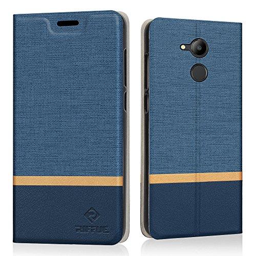 Riffue Cover Huawei Honor 6C PRO, Custodia Flip Caso in Denim Portafoglio [Slot per Schede] Sottile Protettiva Caso per Huawei Honor 6C PRO 5.2' - Blu