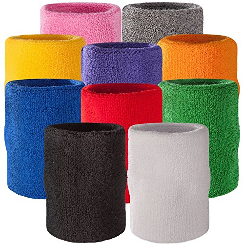 SHOPEE BRANDED 4' Inch wrist band Arm Sweatband in 10 Different Colors - Athletic Cotton Armbands(1 PAIR RANDOM COLOR)  available at amazon for Rs.199