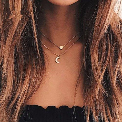 Yesiidor Halskette Damen Gold Doppel Mond Herz Muster Kette Halsketten