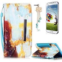 Samsung Galaxy S6 Edge Funda Libro PU Leather Cuero - Sunroyal Cover Carcasa Con Cobertura Completo Flip Case Caja del Teléfono ,Cierre Magnético,Función de Soporte,Billetera con Tapa para Tarjetas+ Anti del Polvo + Protector de Pantalla para Samsung Galaxy S6 Edge SM-G925F (Mármol)