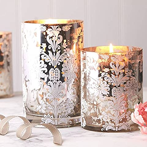 Decorative Mirrored Glass Candle Holder from Gisela Graham. Damask Design tea light or candle holder 15 x 12cm