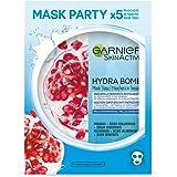 Garnier SkinActive, Maschera in tessuto super-idratante ed energizzante Hydra Bomb, Per pelli disidratate, Melograno, Confezi
