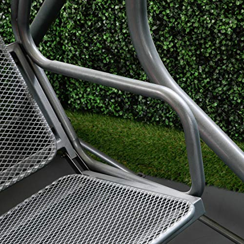 greemotion Hollywoodschaukel 3-Sitzer Toulouse – Gartenschaukel Metall in Grau-Anthrazit mit Dach in Creme – Outdoor Schwebebank für Garten, Balkon & Terrasse, wetterfest – bis ca. 300 kg - 4