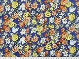 Feiner Baumwoll-Batist, Blumen, blau-multicolor, 140cm