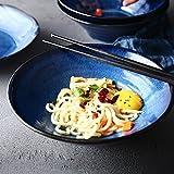 DLewiee Ciotola Di Pasta In Ceramica Blu Insalata Di Frutta Dessert Snack Dip Ciotola Di Stoviglie Zuppa Giapponese Porridge Ramen Noodle Ciotola Da 8,5 Pollici