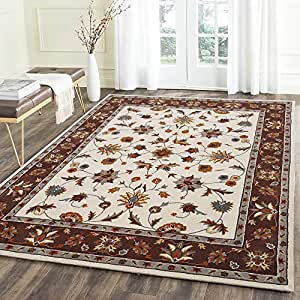 Carpet Craft Persian Handmade Woolen Carpet 8 x 10 Feet (240 x 300 cm) Carpet for Living Room Bedroom and Hall Color Ivory & Brown