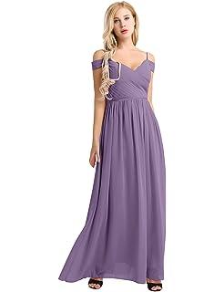iiniim Femmes Dames Robe de Demoiselle d honneur Longue Col V Robe à  Bretelles épaule 60d4a380956