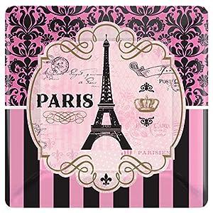 Platos de papel de la marca Amscan International, referencia: 591729. Dimensiones: 23cm. Diseño: Un día en París