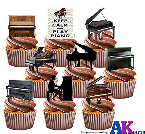 Klavier, Pianisten, Keep Calm And Party Pack mix- Essbar Stand-up Cupcake Topper (36 Stück)