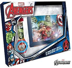 Avengers Set Reloj Digital y Billetera en Caja (MV15407), Multicolor, 3-10 años (Kids Licensing 1)