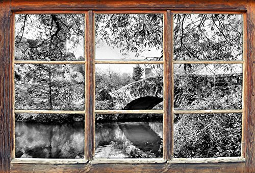 Stil.Zeit Monocrome, Brücke im Central Park Fenster im 3D-Look, Wand- oder Türaufkleber Format: 62x42cm, Wandsticker, Wandtattoo, Wanddekoration - Central Park-brücke