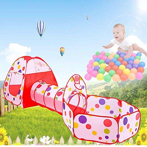 3-Teilig Kinder Zelt Spielzelt + Bällebad mit Basketball Box + Krabbeltunnel