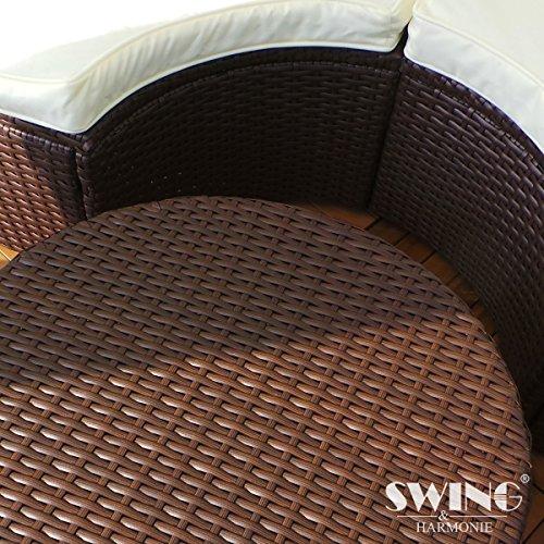 Polyrattan Sonneninsel mit LED Beleuchtung + Solarmodul inklusive Abdeckcover Rattan Lounge Sunbed Liege Insel mit Regencover Sonnenliege Gartenliege (180cm, Grau) - 6