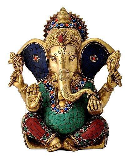 Elefanten-statue Türkis (27,9cm Große Ganesh Statue türkis Erfolg Skulptur Elefant Gott Figur lang Ohr Messing vinayak Ganesha)