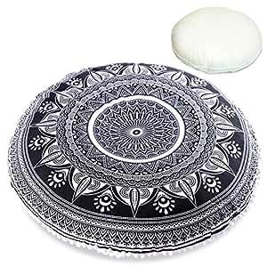 Mandala Life ART Coussin de Sol Bohemian Yoga - Oreiller Inclus - Décoration pour Pouf et Oreiller de Méditation - ZAFU - 75cm - Coton Biologique