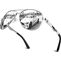 CGID GA61 Occhiali da Sole Premium Lega Al-Mg Pilot Polarizzati UV400, Completamente a Specchio Cardini a Molla Occhiali…