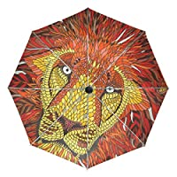 FAJRO Article Scale Painting Lion Travel Umbrella Windproof Automatic Umbrellas for Rain Outdoor/Women/Men