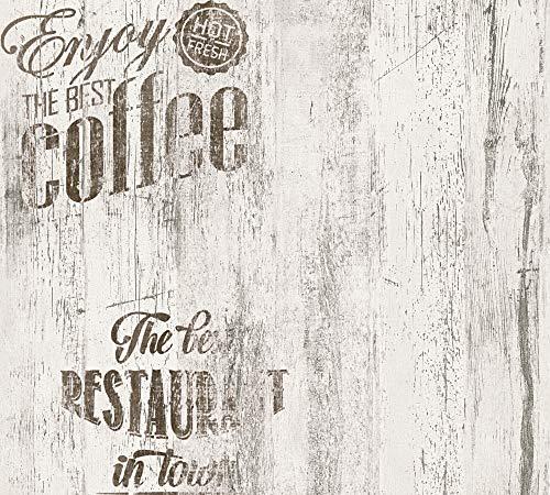 A.S. Création Papiertapete Simply Decor Tapete Kaffee Coffee 10,05 m x 0,53 m braun grau Made in Germany 334812 33481-2