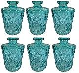Dekoflasche Glasflasche 3 oder 6 Stück Korkenglas Korkengläser Deko Apotheke Flasche Likörflasche Apothekerglas Vintage Glas (6 Stück, blau)