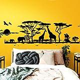 Grandora W683 Tatuaggio a Muro Africa Savana Animali I Verde erboso 190 x 58 cm I Elefante Giraffa Soggiorno Stanza Autoadesivo da Muro Adesivi murali