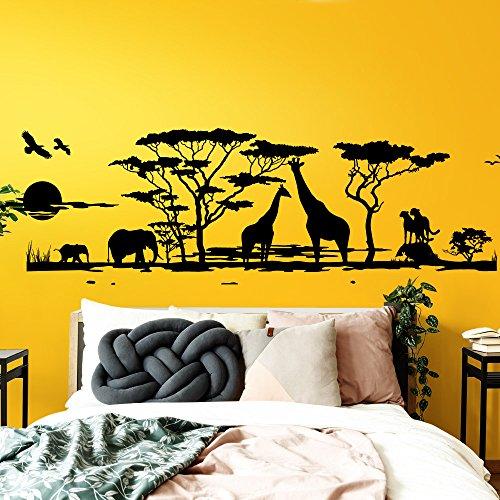 Grandora Wandtattoo Afrika Savanne Tiere I haselnussbraun (BxH) 190 x 58 cm I Elefant Giraffe Wohnzimmer Schlafzimmer Sticker Aufkleber Wandaufkleber Wandsticker W683