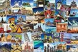 World Globetrotter Poster Postkarten Collage Reiseziele (91,5cm x 61cm) + 2 St. transparente Posterleisten mit Aufhängung