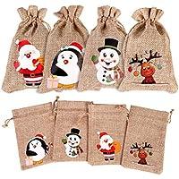 FINGOOO 12 pieces Line Jute Drawstring Gift Bag Christmas Candy Pouch Sacks Xmas Party Burlap Bag