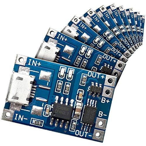 Preisvergleich Produktbild 10 Stück Washati® TP4056 PLUS mit Akkuschutz IC - 5V, 1A Lademodul für Li-Ion und LiPo Akkus mit Micro USB Port