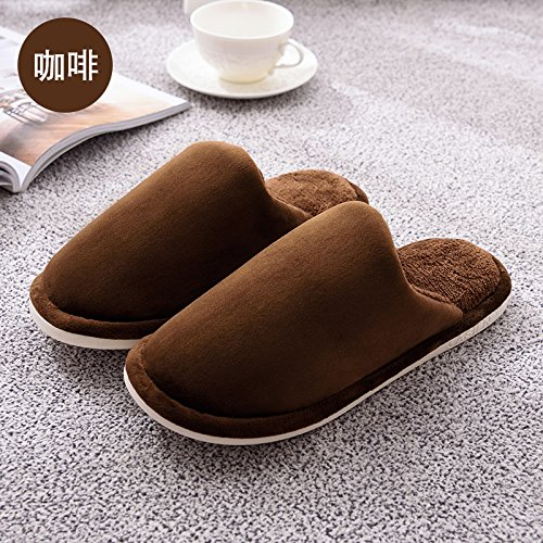 DogHaccd pantofole,Inverno di colore solido cotone spesse pantofole uomini e home soggiorno con anti-slip caldo paio extra spessa eleganti scarpe invernali femmina Il caffè2