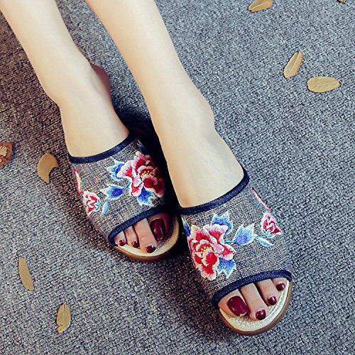 DESY Peony ricamato scarpe, suola tendine, stile etnico, femminile caduta di vibrazione, modo, comodo, sandali black ash