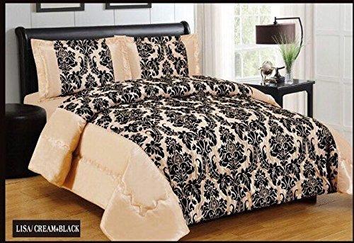 Neve Noelene Damast Luxus Super Weich 3Flock Gesteppte Tagesdecke Tröster Bett, cremefarben schwarz, Polyester, Cremefarben/Schwarz, Double (220cm X 240cm) -