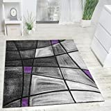 Designer Carpet Modern Rug Chequered Contour Cut Pattern In Grey Purple, Size:160x230 cm