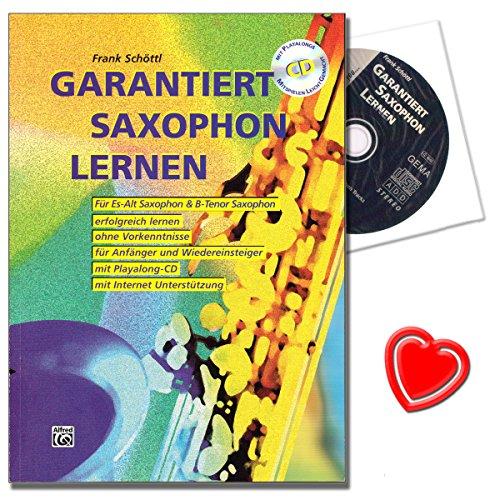 Garantiert Saxophon lernen - erste Saxophonschule (Autor: Frank Schöttl) mit Internet-Unterstützung für Anfänger und Wiedereinsteiger - mit CD und herzförmiger Notenklammer