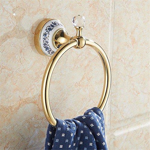 MBYW moderner, minimalistischer Handtuchhalter mit hoher Tragkraft Eleganter Badhandtuchhalter Handtuchring European Gold Blau und Weiß Porzellan Kristall Kopf Bad Handtuchhalter -
