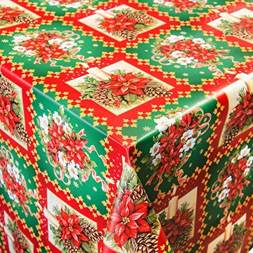 Tovaglia di tela cerata merce al metro Motivo Natale candele su ordine lunghezza a scelta, Plastica, colori assortiti, 160x140cm