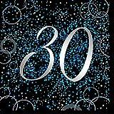 Unique Papierservietten mit Foliendruck für den 30. Geburtstag,blau,16er pack