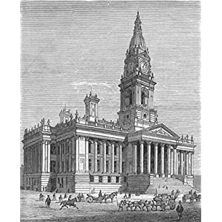 BOLTON: Royal visit to-new Town Hall, antique print, 1873