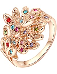 Yellow Leaf Shimmering 18k Gold Plated Party Wear Ring Festive Ring For Women Girls Gift YKR-108