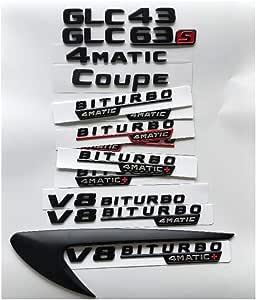 Sbcx Für Mercedes Benz Amg X253 Coupé Schwarze Buchstaben Glc43 Glc63 Glc63s V8 Biturbo 4matic Kotflügel Kofferraum Heckklappe Emblem Embleme Abzeichen Sport Freizeit