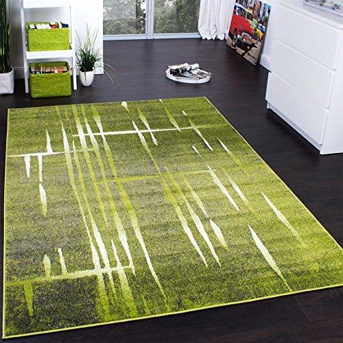 Designer Teppich Modern Trendiger Kurzflor Teppich Meliert in Grün Grau Creme, Grösse:70x140 cm