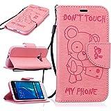 Chreey Coque Samsung Galaxy J1(2016) / J120F (4.5 pouces) (DON'T TOUCH MY PHONE),PU Cuir Portefeuille Etui Housse Case Cover ,carte de crédit Fentes pour ,idéal pour protéger votre téléphone