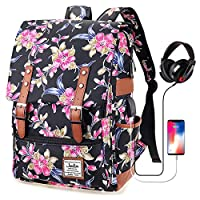 Junlion Vintage Backpack College School Rucksack Unisex Laptop Daypack with USB Charging Port and Headphone Jack