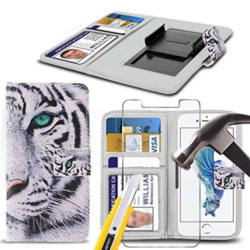 Preisvergleich Produktbild (Weißer Tiger 142 x 72 mm) PRINTED DESIGN Tasche für Medion X5020 Kastenabdeckung Beutel Qualitäts-Thin-Leder-Buch-Art-Beutel Holdit Federklammer Clip auf Adjustable Buch von i-Tronixs