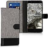 kwmobile Funda para bq Aquaris V Plus - Wallet Case plegable de cuero sintético - Cover con tapa tarjetero y soporte en gris negro