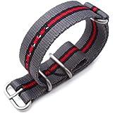 Cinturino MiLTAT 20mm, 22mm o 24mm 3 anelli Zulu JB cinturino militare cinturino in nylon balistico - grigio, nero e rosso, s
