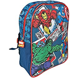 Mochila para Niño Marvel Los Vengadores - Bolso Escolar Avengers - Capitán América, Hulk, Iron Man y Spiderman - Bolsa para la escuela y la guarderia - 31x24x10 cm - Perletti